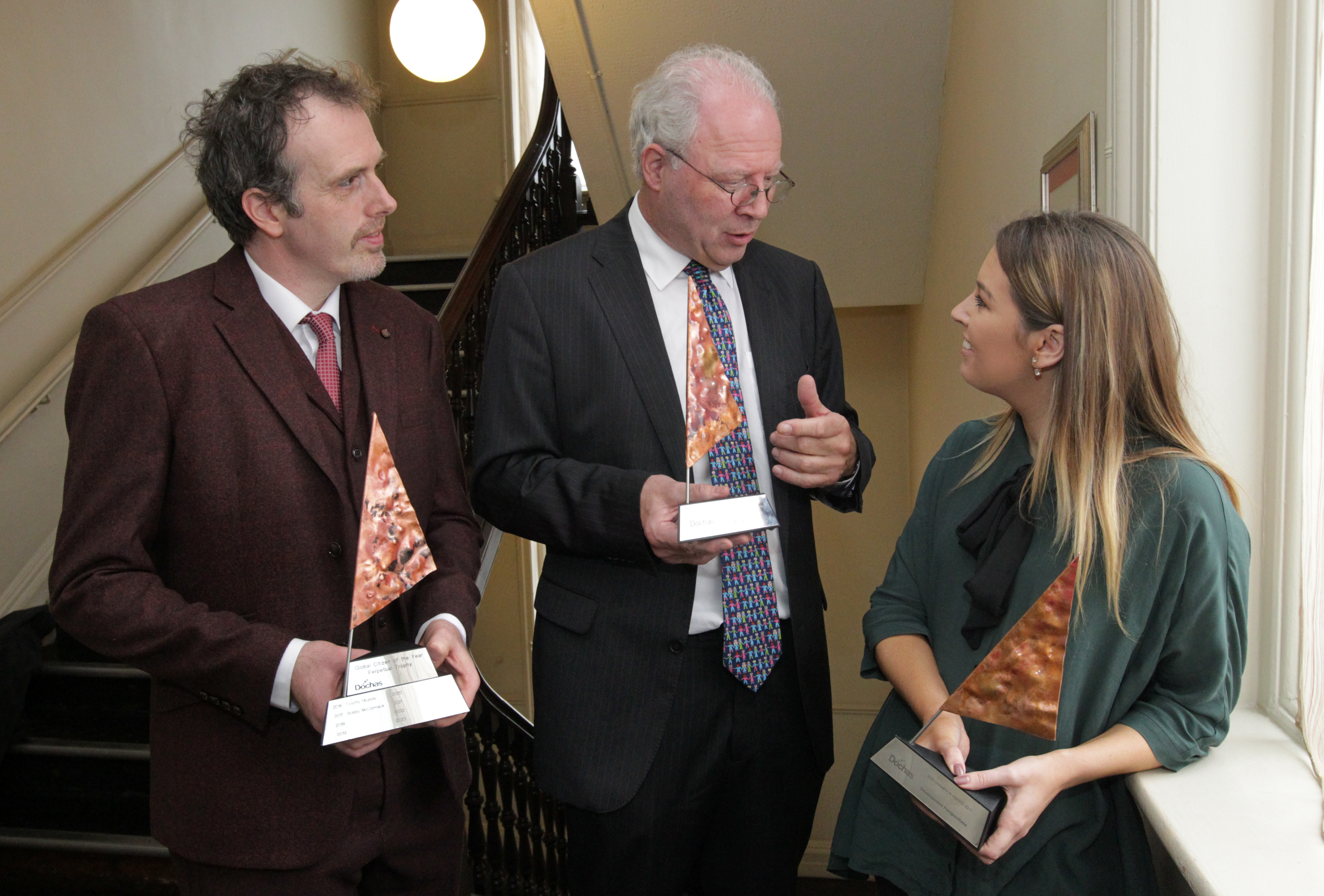 DP director Bobby McCormack and SDGchallenge coordinator Stephanie Kirwan with former Irish representative to the UN David Donoghue.